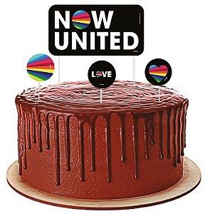 Topper para Bolo Festa Now United - 04 Unidades - Festcolor - Rizzo Festas