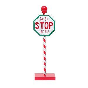 Placa Santa Stop Here Natal Vermelho 35cm - 01 unidade - Cromus Natal - Rizzo Embalagens