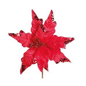 Flor de Natal Cabo Curto Poinsettia Vermelho - 01 unidade - Cromus Natal - Rizzo Embalagens