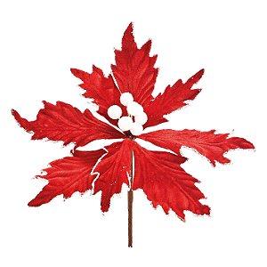 Flor de Natal Poinsettia Vermelho/Branco Cabo Médio- 01 unidade - Cromus Natal - Rizzo Embalagens