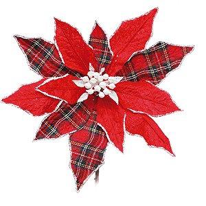 Flor de Natal Poinsettia Xadrez Vermelho/Verde Cabo Curto - 01 unidade - Cromus Natal - Rizzo Embalagens