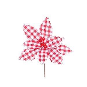 Flor de Natal Poinsettia Xadrez Vermelho/Branco Cabo Curto - 01 unidade - Cromus Natal - Rizzo Embalagens