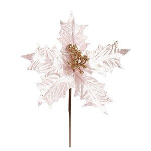 Flor de Natal Poinsettia Rosa Claro Cabo Médio - 01 unidade - Cromus Natal - Rizzo Embalagens