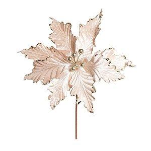 Flor de Natal Poinsettia Branco/Nude Cabo Médio - 01 unidade - Cromus Natal - Rizzo Embalagens