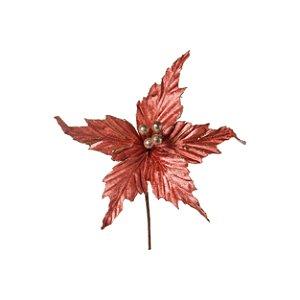 Flor de Natal Poinsettia Rose Gold Cabo Curto - 01 unidade - Cromus Natal - Rizzo Embalagens