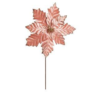 Flor de Natal Poinsettia Rose Gold Cabo Médio - 01 unidade - Cromus Natal - Rizzo Embalagens