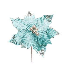 Flor de Natal Poinsettia Verde Cabo Curto - 01 unidade - Cromus Natal - Rizzo Embalagens