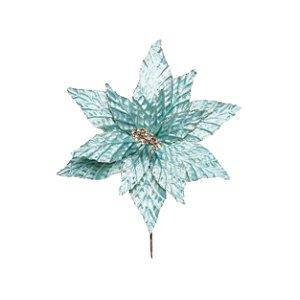 Flor de Natal Poinsettia Azul Cabo Curto - 01 unidade - Cromus Natal - Rizzo Embalagens