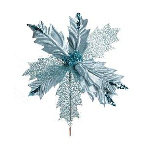 Flor de Natal Poinsettia Azul com Cabo Curto - 01 unidade - Cromus Natal - Rizzo Embalagens