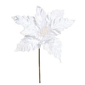 Flor de Natal Poinsettia Branco com Cabo Curto - 01 unidade - Cromus Natal - Rizzo Embalagens