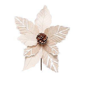 Flor de Natal Poinsettia Juta Cabo Curto - 01 unidade - Cromus Natal - Rizzo Embalagens