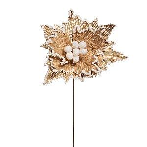 Flor de Natal Poinsettia Juta com Cabo Curto - 01 unidade - Cromus Natal - Rizzo Embalagens