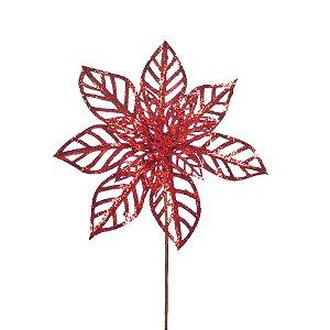 Flor de Natal Poinsettia 14 Petalas Vazadas Vermelho Cabo Curto - 01 unidade - Cromus Natal - Rizzo Embalagens
