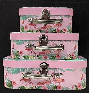 Kit 3 Maletas de Papel Flamingo - 03 Unidades - Artegift - Rizzo Festas