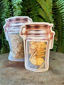 Saco com Zip Formato de Pote - Tampa Hermética Rosê Gold - BM36 Iimportadora - Rizzo Embalagens