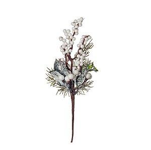 Pick Natal Galho Curto Branco/Verde - 01 unidade - Cromus Natal - Rizzo Embalagens