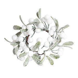 Guirlanda Folhas Frutas Branco/Verde - 01 unidade - Cromus Natal - Rizzo Embalagens