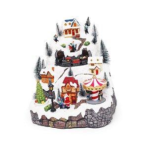 Cenário com Movimento Natal - Vila com Trem, Som e Luz- Bivolt - 01 unidade - Cromus Natal - Rizzo Embalagens