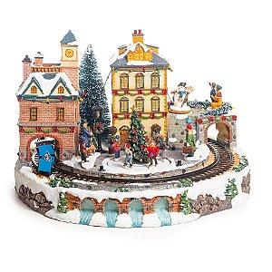 Cenário com Movimento Natal Vila com Trem Som Luz e Movimento - 01 unidade - Cromus Natal - Rizzo Embalagens