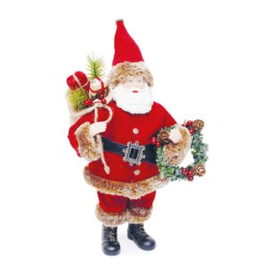 Noel com Guirlanda Vermelho  30cm - 01 unidade - Cromus Natal - Rizzo Embalagens