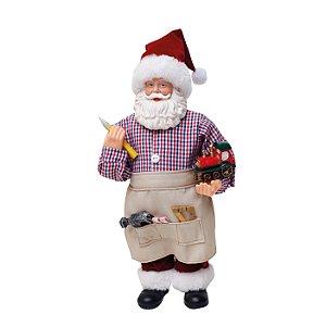 Noel Decorativo Capinteiro 28cm - 01 unidade - Cromus Natal - Rizzo Embalagens