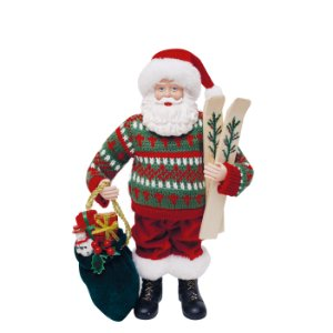 Noel Decorativo com Esqui 28cm - 01 unidade - Cromus Natal - Rizzo Embalagens