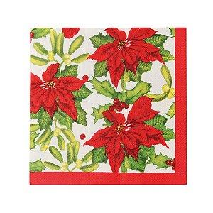 Guardanapo de Papel Natal Poinsettia 32,5cm - 20 folhas - Cromus Natal - Rizzo Embalagens