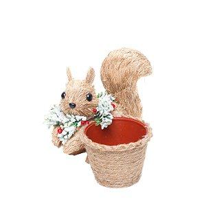 Esquilo Sentado com Cachepot 18cm - 01 unidade - Cromus Natal - Rizzo Embalagens