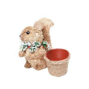 Esquilo Sentado com Cachepot 22cm - 01 unidade - Cromus Natal - Rizzo Embalagens