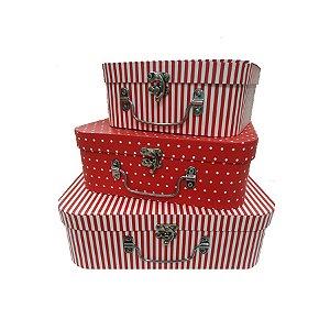 Kit Maleta Texturizado Vermelho - 03 Unidades - Rizzo Embalagens