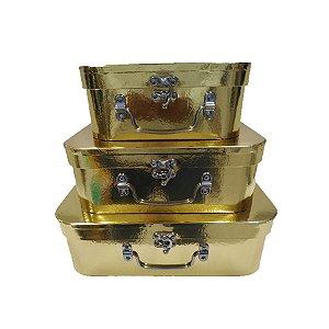 Kit Maleta Ouro - 03 Unidades - Rizzo Embalagens
