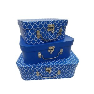 Kit Maleta Texturizado Azul Royal - 03 Unidades - Rizzo Embalagens
