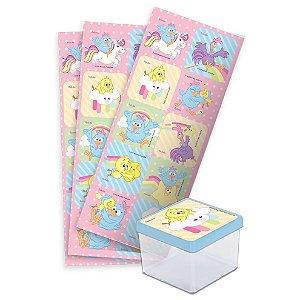 Adesivo Quadrado para Lembrancinha Festa Galinha Pintadinha Candy - 30 unidades - Festcolor - Rizzo Festas