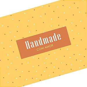 Rótulo e Tira Decorativa Handmade com Amor - Tam P / M / G - 5 unidades - Rizzo Embalagens
