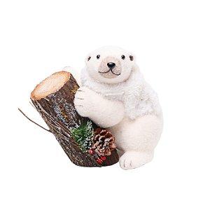 Urso com Cachecol e Tronco Branco/Marrom 25cm - 01 unidade - Cromus Natal - Rizzo Embalagens