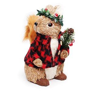 Esquilo Sentado Camisa Xadrez Folhas 20cm - 01 unidade - Cromus Natal - Rizzo Embalagens
