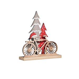 Bicicleta com Pinheiro em Madeira - 01 unidade - Cromus Natal - Rizzo Embalagens