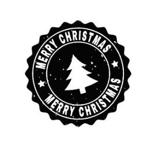 Carimbo Artesanal Merry Christmas Preto e Branco - G - 6,0x6,0cm - Cod.RI-049- Rizzo Embalagens