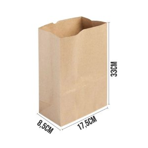 Saco de Papel Kraft Ref 3856 - 17,5x8,5x33cm - 10 unidades - Rizzo Embalagens