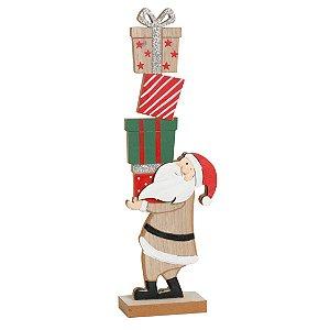 Noel Carregando Presentes em Madeira - 01 unidade - Cromus Natal - Rizzo Embalagens