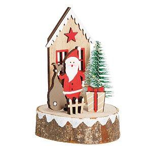 Casinha em Madeira com Noel e Pinheiro 12cm - 01 unidade - Cromus Natal - Rizzo Embalagens