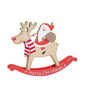 Rena com Noel em Madeira 15cm - 01 unidade - Cromus Natal - Rizzo Embalagens
