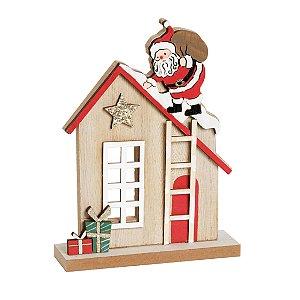 Casinha com Noel no Telhado 17cm - 01 unidade - Cromus Natal - Rizzo Embalagens
