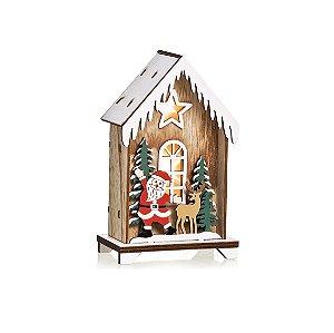 Casa em Madeira com LED Noel e Rena 15cm - 01 unidade - Cromus Natal - Rizzo Embalagens