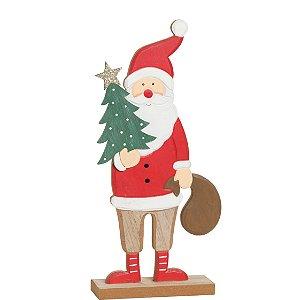 Noel em Madeira segurando Pinheiro 30cm - 01 unidade - Cromus Natal - Rizzo Embalagens