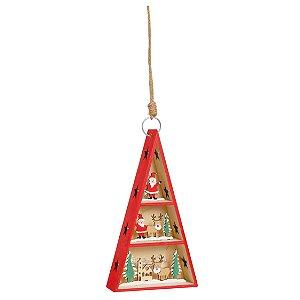 Pinheiro com LED Noel e Rena em Madeira 23cm - 01 unidade - Cromus Natal - Rizzo Embalagens