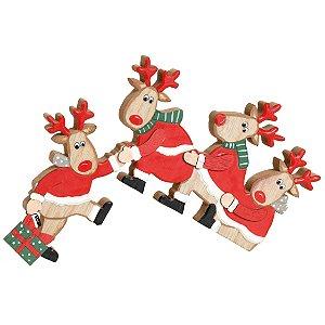 Renas Sentadas em Madeira 19cm - 01 unidade - Cromus Natal - Rizzo Embalagens