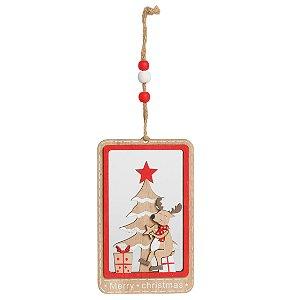 Enfeite para Pendurar Rena e Pinheiro em Madeira 17cm - 01 unidade - Cromus Natal - Rizzo Embalagens