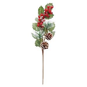 Galho Folhas e Frutas Vermelho/Verde Natal - 01 unidade - Cromus Natal - Rizzo Embalagens
