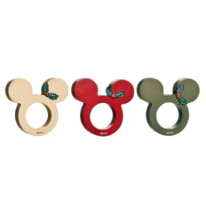 Argola de Guardanapo Mickey em Madeira Natal Disney - 03 unidades - Cromus Natal - Rizzo Embalagens